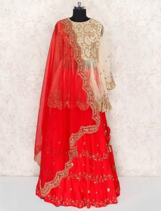 Beautiful red color peplum style tissue silk wedding lehenga choli