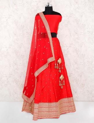 Beautiful red color raw silk fabric wedding lehenga choli