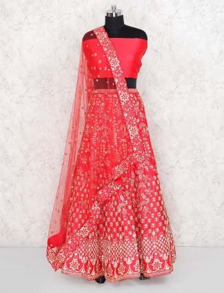 Beautiful red color silk bridal semi stitched lehenga choli