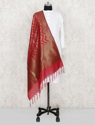 Beautiful red color silk dupatta for women