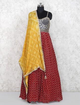 Beautiful red georgette designer floor length salwar suit
