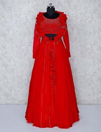 Beautiful red georgette lehenga choli with ruffle shrug