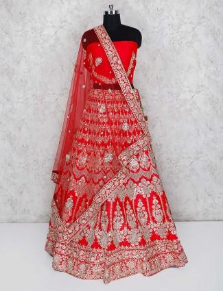 Beautiful red hue raw silk semi stitched lehenga choli