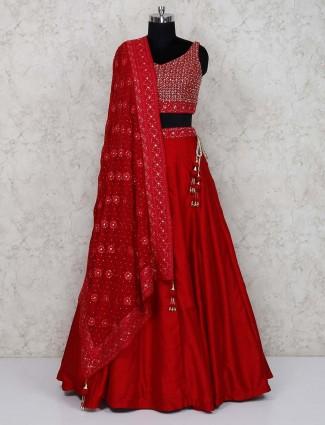 Beautiful red raw silk lehenga choli