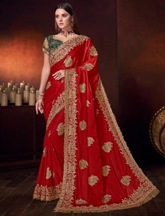 Beautiful red satin wedding designer saree