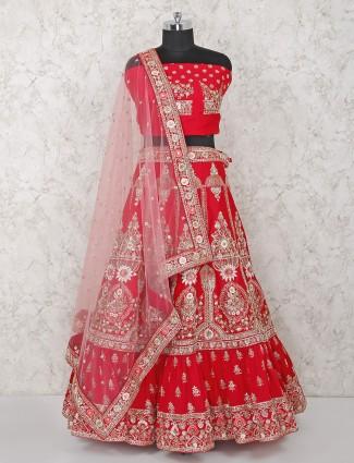 Beautiful red silk bridal wear semi stitched lehenga choli