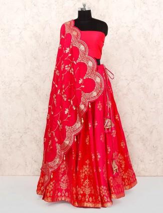 Beautiful red silk semi stitched lehenga choli