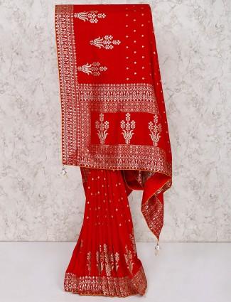 Beautiful red silk wedding saree