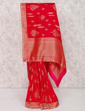Beautiful red wedding saree in silk