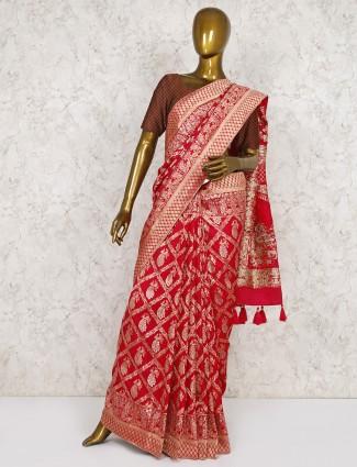 Beautiful red wedding semi silk saree