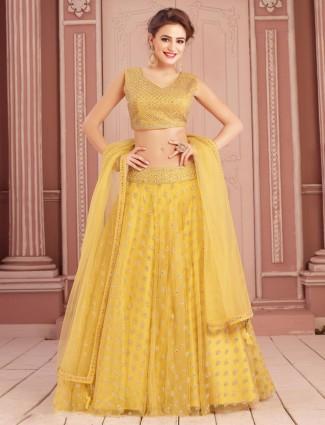 Beautiful yellow lehenga choli in net