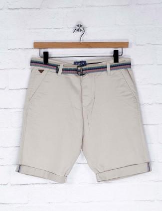 Beevee cream solid casual wear shorts