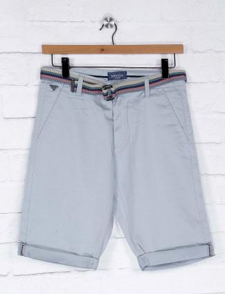 Beevee light grey cotton casual shorts