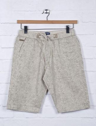 Beevee printed beige casual shorts