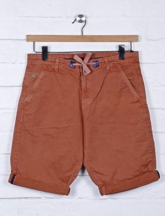Beevee solid rust orange color shorts