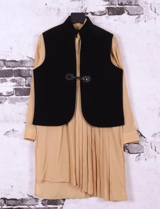 Beige and black boys waistcoat set
