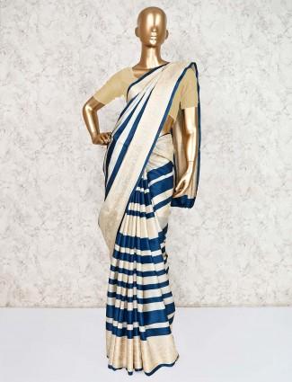 Beige and blue silk saree