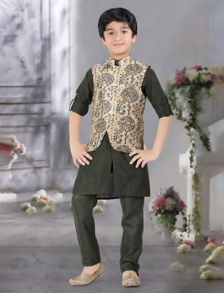 Beige and green hue raw silk waistcoat set