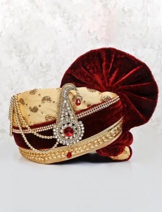 Beige and maroon designer velvet safa