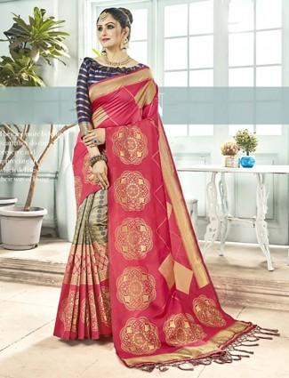 Beige and pink half and half semi silk festive wear saree