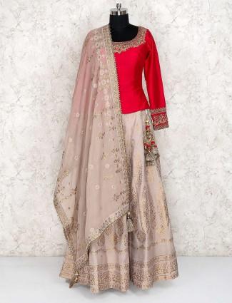 Beige and red hue silk lehenga choli