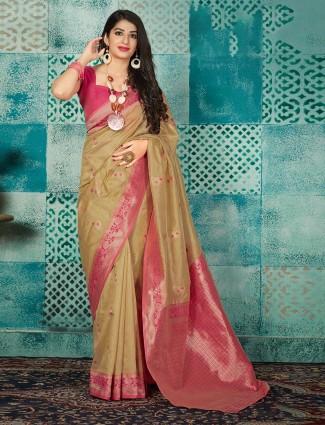 Beige banarasi silk reception wear saree