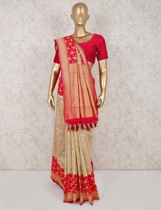 Beige banarasi silk saree in wedding