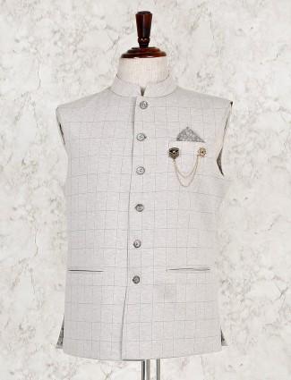Beige checks pattern terry rayon waistcoat