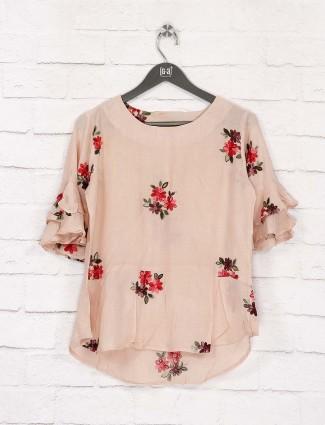 Beige color casual wear cotton top