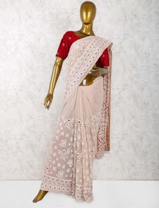 Light pink color classic georgette saree