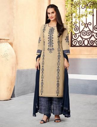 Beige color cotton punjabi palazzo suit