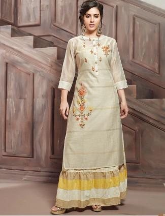 Beige color festive cotton kurti