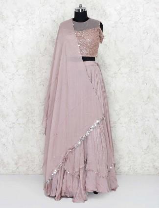 Beige color lehenga choli in tissue silk fabric