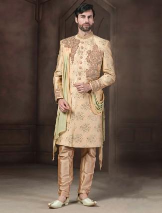 Beige color raw silk fabric wedding indo western