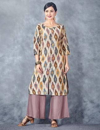 Beige color round neck printed cotton kurti set