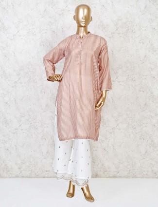 Beige cotton festive stripe punjabi palazzo set