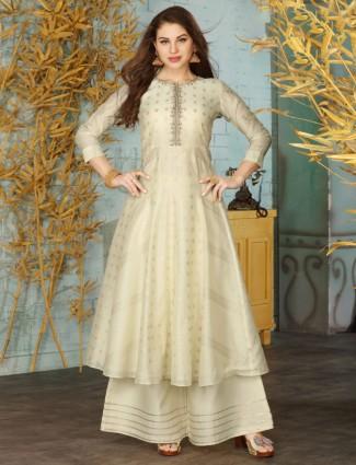 Beige cotton festive wear anarkali palazzo suit