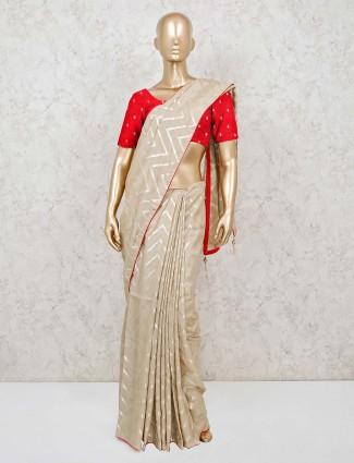 Beige cotton leheriya saree