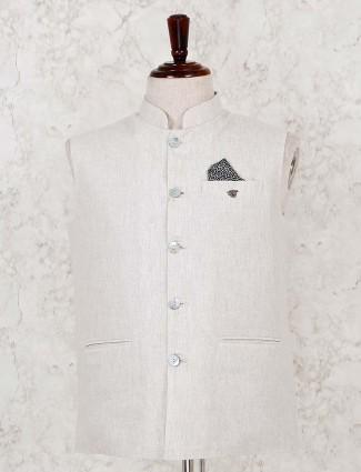 Beige cotton party function waistcoat