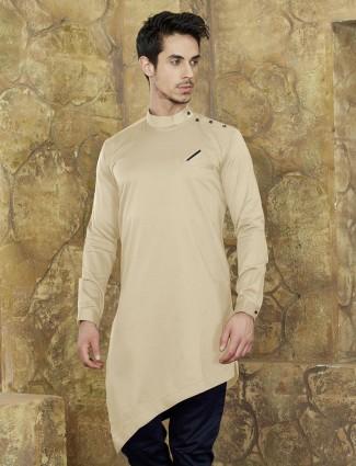 Beige cotton short kurta