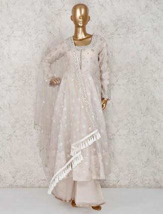 Beige cotton silk party anarkali palazzo suit