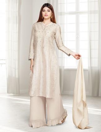 Beige cotton silk party punjabi palazzo suit