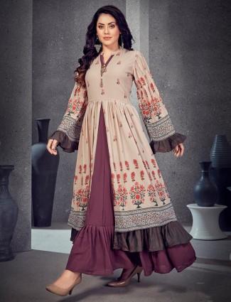 Beige cotton silk printed long kurti
