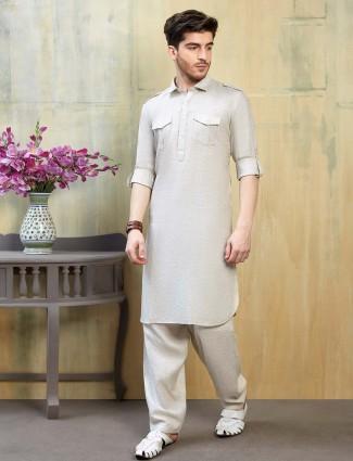 Beige cotton solid mens festive pathani suit