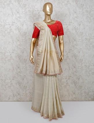 Beige dola silk saree for festival