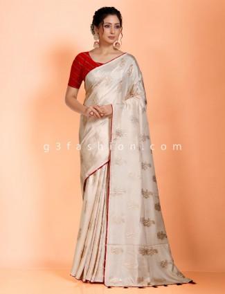 Beige dola silk saree for reception