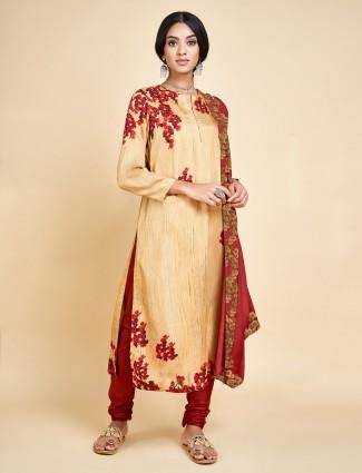 Beige embroidery punjabi salwar suit in cotton