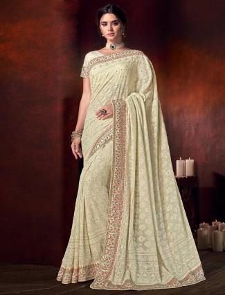 Beige georgette beautiful saree