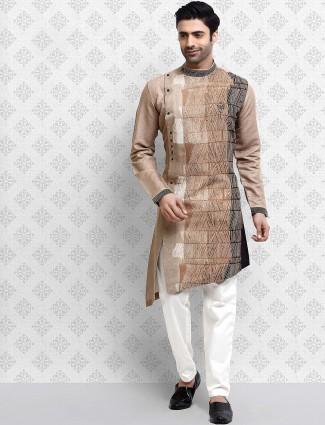 Beige hue bandhgala pattern digital printed kurta suit