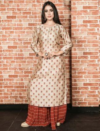Beige hue casual wear cotton fabric printed kurti